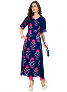 Sterling Blue Colour Casual  Kurti
