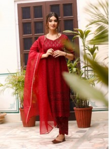 Straight Designer  Georgette Suit With Lucknowi Chikankari Embroidery Work