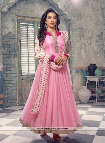 Striking baby Pink net Anarkali Salwar Kameez