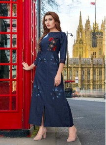 Striking Blue Denim Winter Ware Kurti