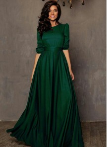 Striking Green Tapeta silk Floor Length Dress
