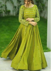 Stunning Foil Mirror Work Lime Green Cotton Floor Length Long Gown