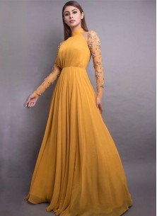 Stunning Mustard-colored  8 Meter Flared Maxi Gown