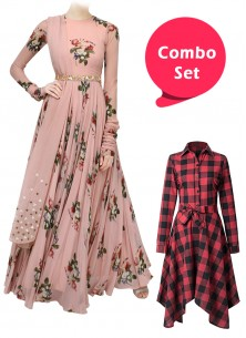 Stunning Printed Frock & Colored Partywear Crepe Gown - Pack of 2
