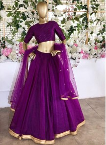 Stunning Satin Purple Colour Classic Lehenga Choli With Matching Embroidered Dupatta