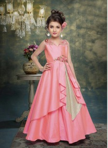 Stylish Baby Pink Silk Gown For Cute Baby