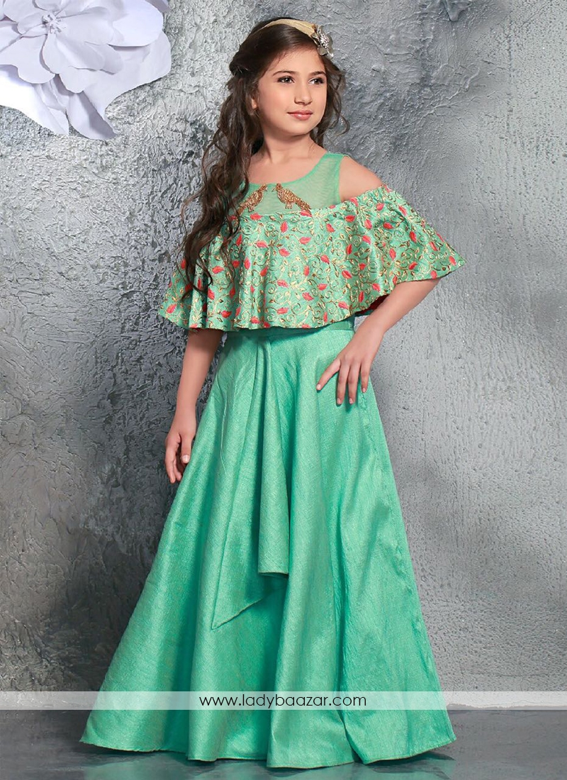 Stylish Chennai Silk Green Gown For Cute Baby