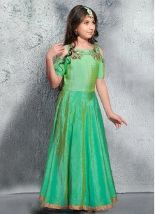Stylish Pista Parrot Green Silk Gown For Cute Baby