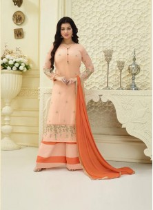 Suave Faux Georgette Peach Embroidery Work Palazzo Salwar Suit