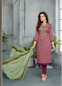 Subtle Cotton Maroon Shaded Churidar Suit