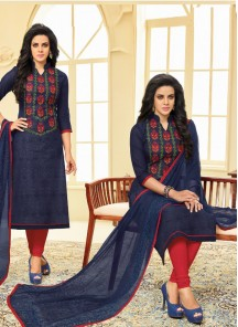 Subtle Navy Blue Chanderi Embroidery Work Churidar Salwar Kameez