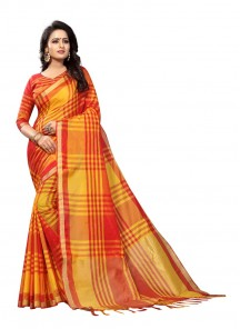 Subtle orange Color Cotton Silk Printed Saree