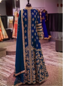 Subtle Silk Navy Blue Anarkali Salwar Kameez
