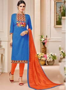 Sumptuous  Blue Cotton Embroidery Work Salwar Suit