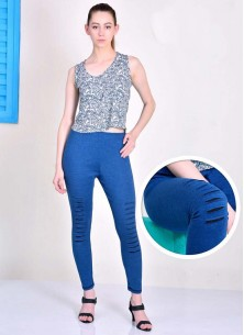 Sumptuous Blue Cotton With Lycra Leggings For Girls