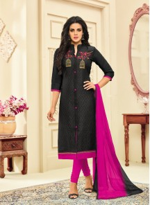 Sumptuous Chanderi Black Embroidery Work Churidar Dress