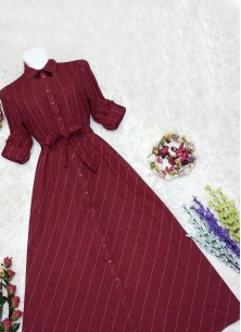 Sumptuous Digital Print Cotton Twill Maroon Colour