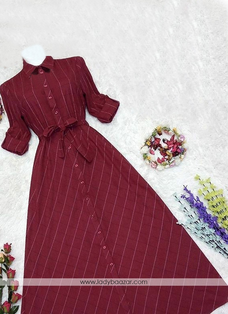 Sumptuous Digital Print Cotton Twill Maroon Colour Party Wear Gown Style Western Ware