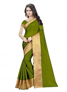 Sunshine Cotton Silk Green Color Printed Casual Saree