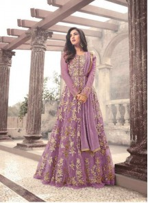 Sunshine Violet  Embroidered With Stone  Work Floor Length Anarkali Suit