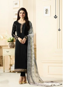Superlative Black Embroidery Crepe Salwar Suit