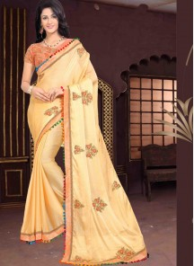 Superlative Chiffon Mustard Embroidery Saree