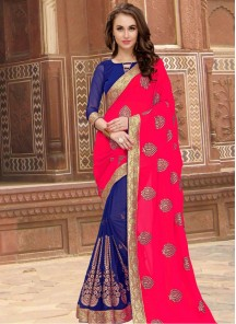 Superlative Embroidered Work Dark Pink And Blue Half N Half Designer Saree