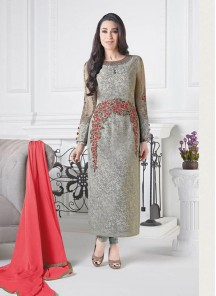 Superlative Grey Crepe Embroidery Work Salwar Kameez