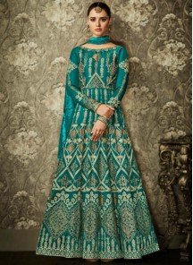 Superlative Mulberry Silk Lace Work Floor Length Anarkali Suit