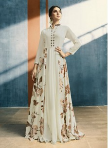 Surpassing Georgette Cream Color Flared Dress