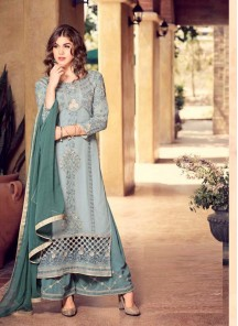 Surpassing Grey Color Embroidery Work Georgette Palazzo Suit