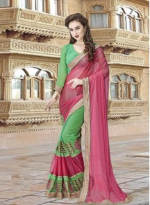 Surpassing Lycra With Georgette Pink With Green Half N Half Designer Saree