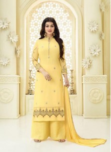 Surpassing Yellow Georgette Embroidery Work Palazzo Salwar Suit