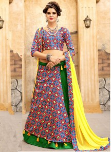 Swanky Jacquard  Silk Multi Colour Print Work Lehenga Choli
