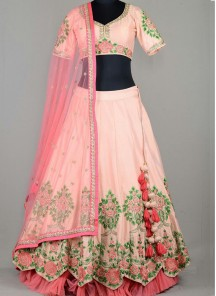 Swanky Pink Embroidered Work Lehenga Choli