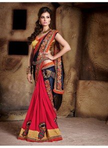 Tempting Hot Red Patch Border Work Classic Designer Saree