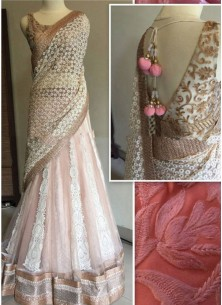 Thrilling Pink Patch Border Work A Line Lehenga Choli