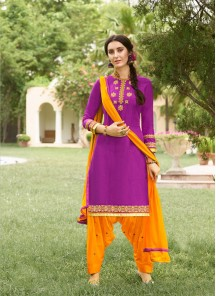 Tiptop Lavender With Orange Cotton Embroidery Work Salwar Suit