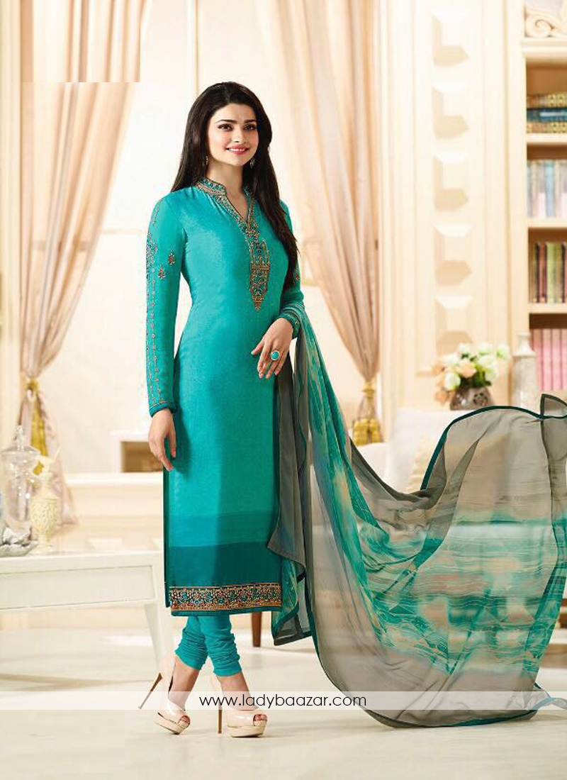 Titillating Embroidery Work Turquoise Churidar Suit
