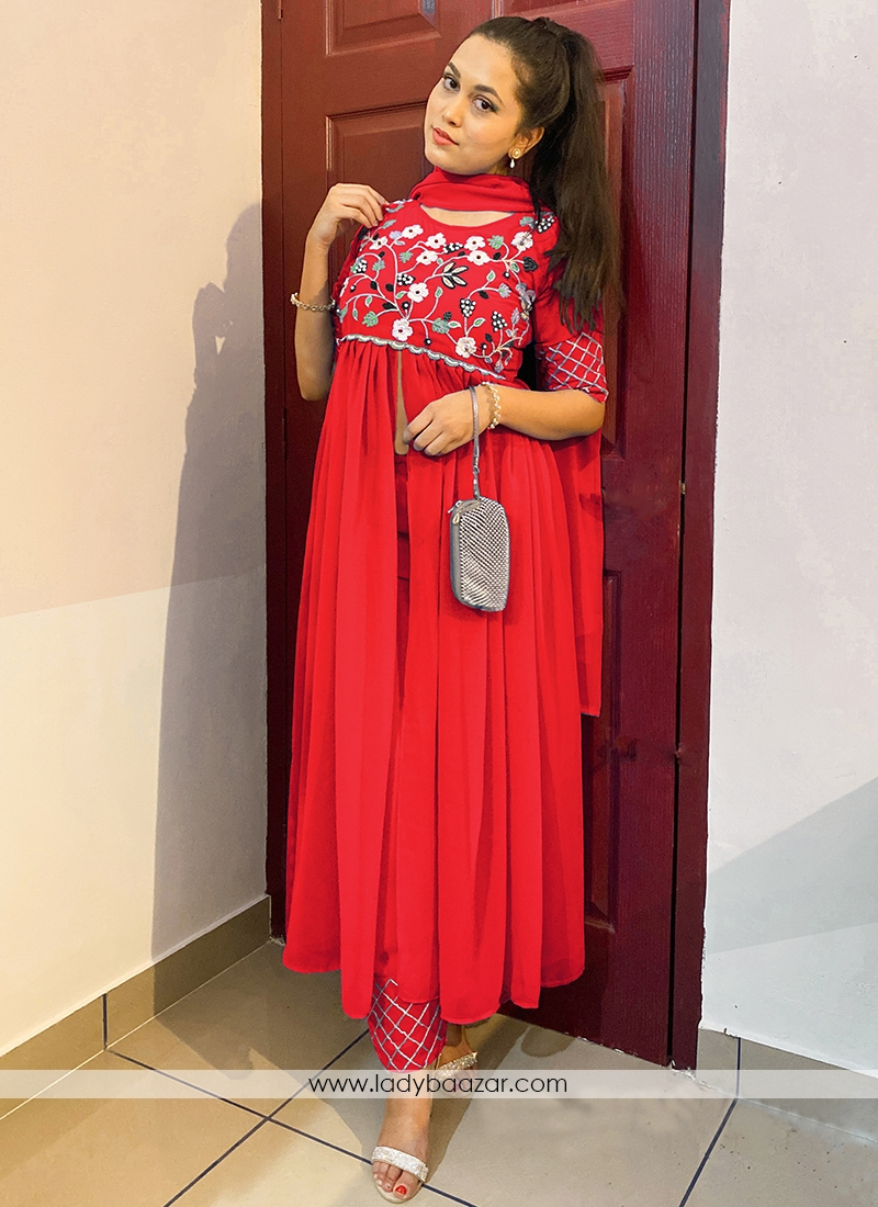 Tometo Red Colored Partywear Embroidered Georgette Top-Bottom Set