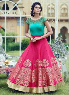 Trendy Aqua Magenta Silk Digital Print Pure Hand Work Stitched Anarkali Suit