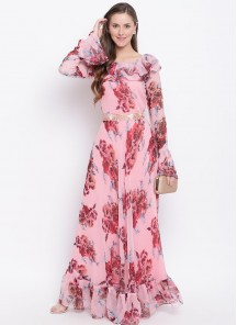 Trendy bell Sleeve Peach Floral Printed Faux Georgette Maxi Dress