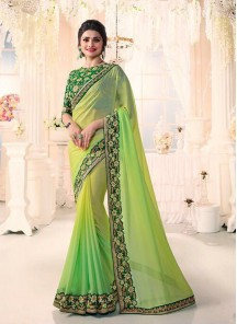 Trendy Chiffon Patch Border Work Designer Green Saree