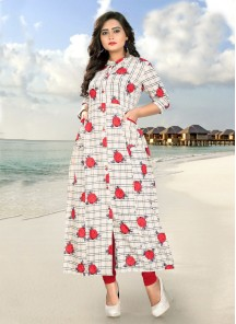 Trendy Cotton Off White Printed Casual Kurti