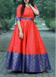 Trendy Gajari Pink Colored Partywear Woven Jacquard - Tapetta Gown
