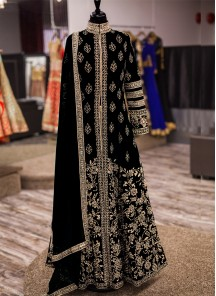 Trendy Patch Border Work Silk Black Anarkali Salwar Kameez