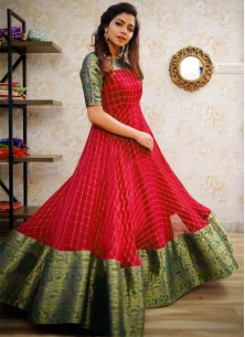 Trendy Red Colored Party Wear Jacquard pure cotton