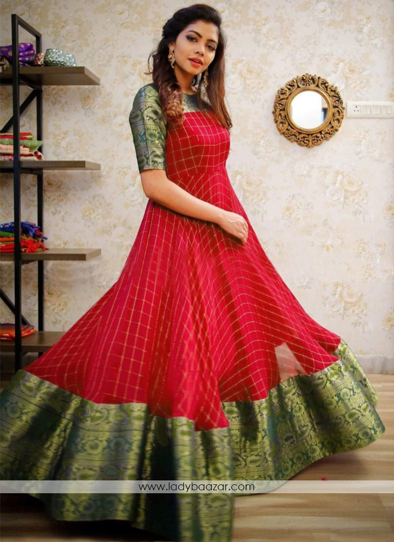 Trendy Red Colored Party Wear Jacquard pure cotton Gown
