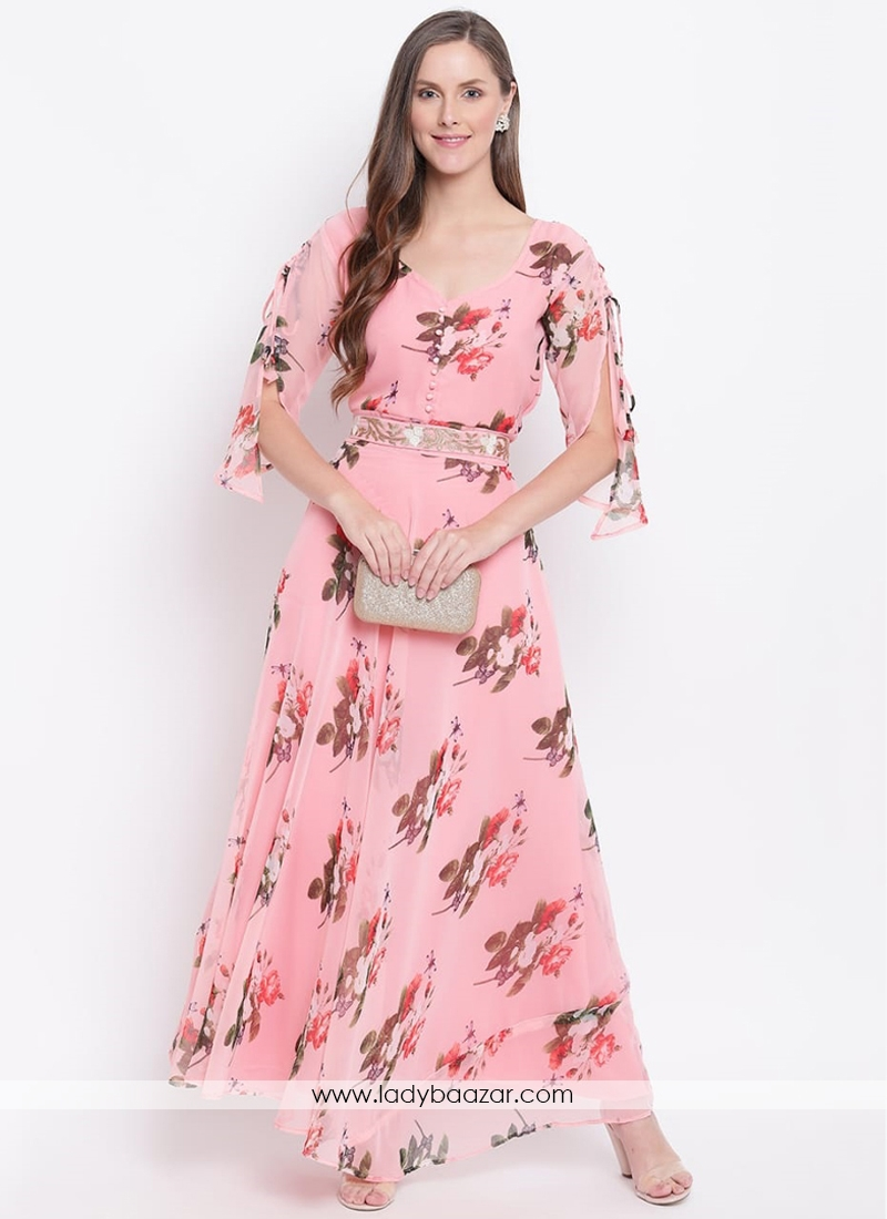 Trendy Short Sleeve Floral Printed Faux Georgette Maxi Dress