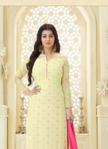 Trendy Yellow Embroidery  Work Faux Georgette Palazzo Salwar Suit